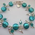 Teal Blue Glass Bracelet, Teal Blue..