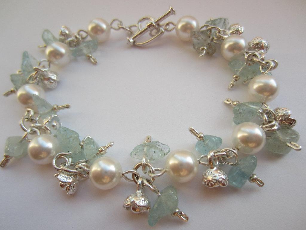 Aquamarine Bracelet Swarovski Pearl Birthstone Cer Charm Semi Precious Flower Charms