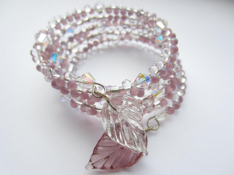Memory Wire Bracelet, Swarovski Crystal Bracelet, Pink Bracelet ...