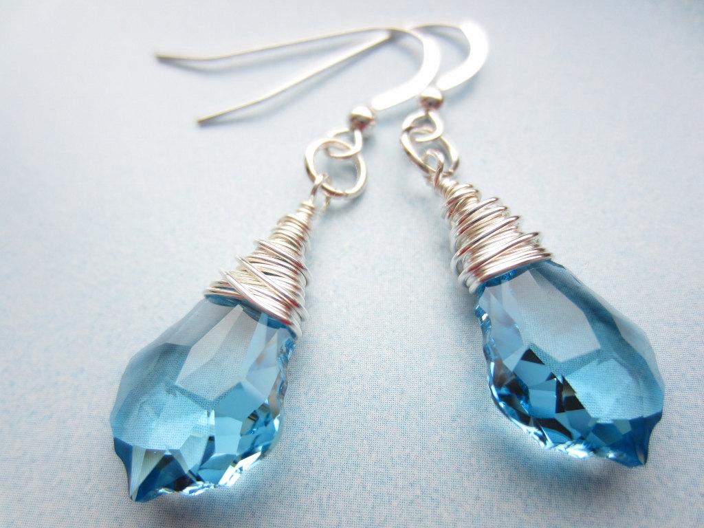 Swarovski Crystal Earrings, Wire Wrapped Earrings, Blue Crystal ...