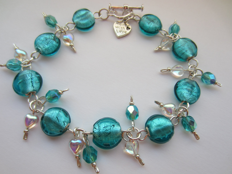 Teal Blue Gl Bracelet Indian Beaded Crystal Heart