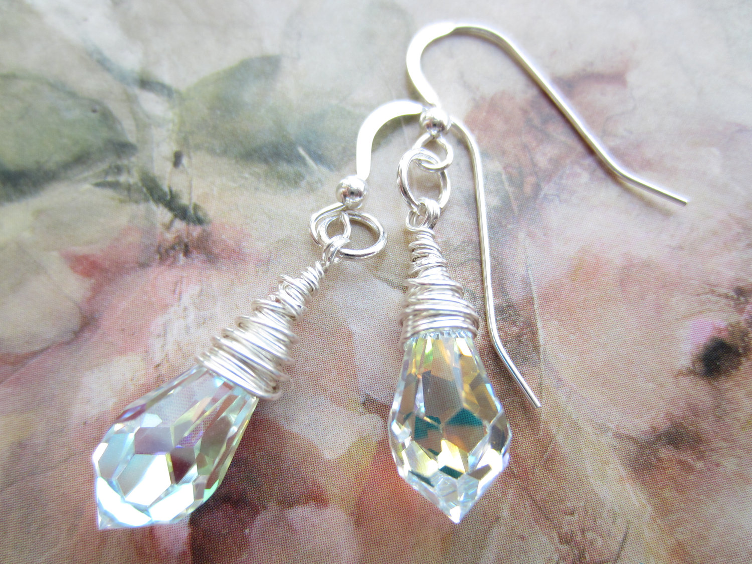 Crystal Earrings Swarovski Bridal Jewellery Wedding Drop Wire Wred