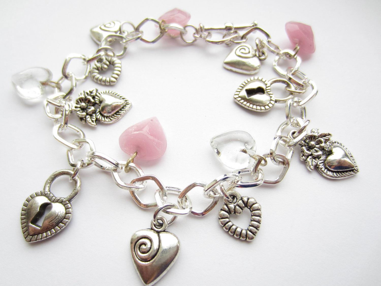 Silver Charm Bracelet Hearts Pink